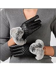 Damas invierno al aire libre y de la felpa acolchada caballo guantes guantes de pantalla táctil caliente