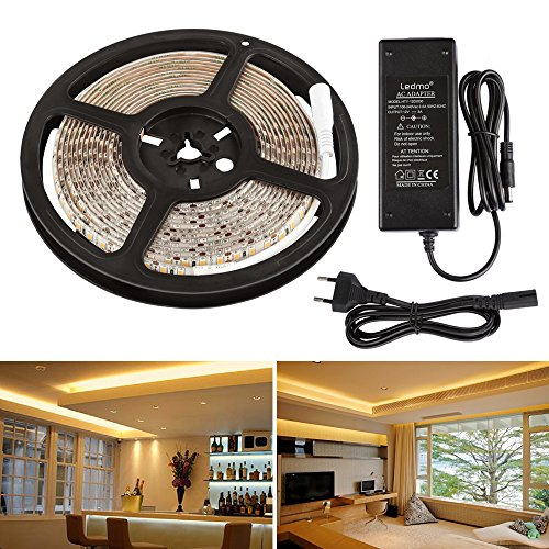 LEDMO Tira LED 12V,luces led 2700K Blanco cálido SMD2835 600leds IP65 impermeable 5m tiras led 15LM/LED cinta led ancho 8mm,Kit Completo con tira LED transformador 12V 5A