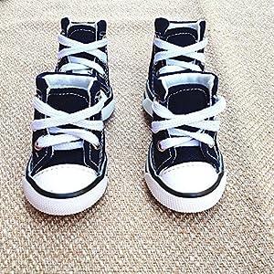 Nibesser Lot de 4 pcs Chaussures de Soport en Denim Voile pour petits Chien Chiot Bleu Marine