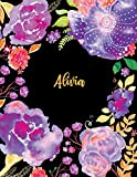 Alivia: Purple Journal Notebook With Floral Softcover, 8.5 x 11