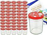 MamboCat Einmachgläser 50er Set I Marmeladenglas Sturzglas mit Deckel I robuste Einweckgläser 435 ml mit Twist Off Deckel Ø 82 mm rot weiß gepunktet I inkl. Diamant Gelierzauber Rezeptheft