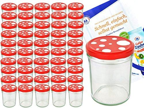 MamboCat Einmachgläser 50er Set Marmeladenglas Sturzglas + Deckel I robuste Einweckgläser 435ml + Twist Off Deckel Ø 82mm rot weiß gepunktet I Klarglas Rund Glas & Diamant Gelierzauber Rezeptheft