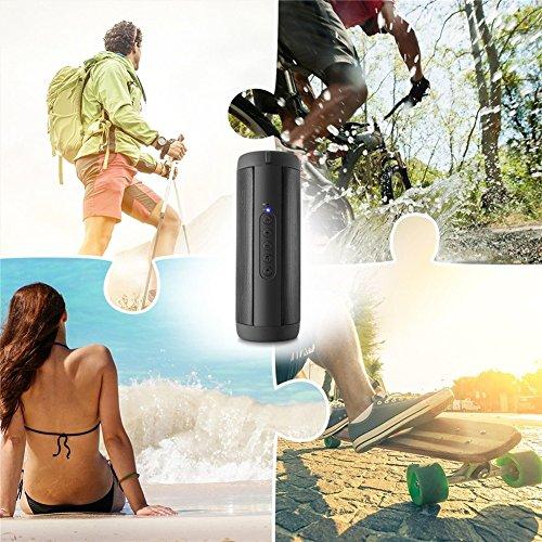 Prom-near Altavoz Bluetooth Portátil, Impermeable Bocina Portátil Bluetooth V4.0 con 360 Grados de Sonido Envolvente Radio de la Ayuda FM, Manos - Gratis, Tarjeta del TF, 3.5 AUX, Alto - Calidad de Sonido de Definición con 10 Horas de Tiempo de Juego Para