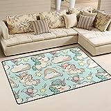 Alfombra de suelo Coosun, antideslizante, diseño de unicornios y nubes, ideal para salón o dormitorio, tela, multicolor, 31 x 20 inch