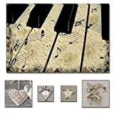 Lumière Eco Bundle sur toile Superbe Noir et blanc vintage Piano 80x...
