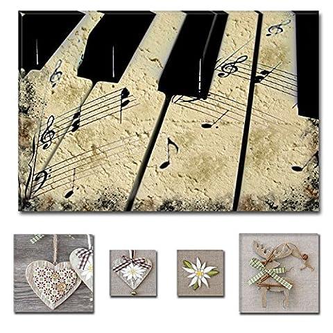 Eco Light Art Wand Leinwand Bundle Schöne Schwarz und Weiß vintage Piano 80x 119,9cm für Home Décor und Lovely Rustikal Collage Set von 4Artwork modernen gerahmt
