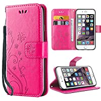 iDoer iPhone 6S Solide Butterfly PU Ledercase Tasche Hülle Schutzhülle Flip Case Magnetverschluss Handyhülle im Wallet Bookstyle Standfunktion für Apple iPhone 6 6S - Rose