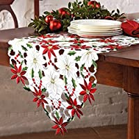 Aparty4u Christmas Table Runners Luxury Embroidered Table Runner Poinsettia and Holly Leaf Wedding Table Decoration for Xmas Decorations, 69x15inch