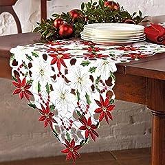Idea Regalo - OurWarm lusso ricamato runner da tavola natalizi agrifoglio e decorazioni per la tavola di Natale rosso e bianco 176cm x 38cm
