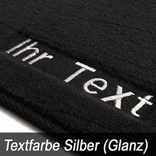 Preisvergleich Produktbild Auto Fußmatten 1K / 5K Velour, Bestickt Wunschtext, Namen usw (2-teilig) Silber Glanzeffek