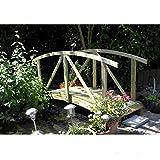 Gartenpirat Teichbrücke gebogen aus Holz mit Geländer