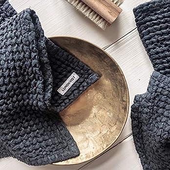 Leinen Handtuch Freda klein anthrazitblau, Gästehandtuch, Waffelstoff weich, Handtuch Baumwolle Leinen, kleines Handtuch dunkelgrau dunkelblau, Öko-Tex zertifiziert