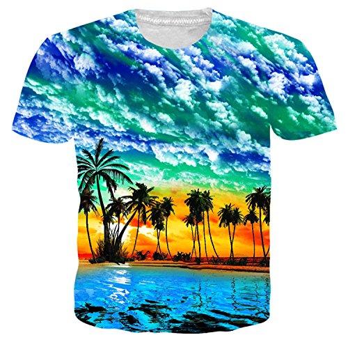 (Idgretim Teenager Hawaii 3D Printed Tintenfisch T-Shirts Plus Größe)