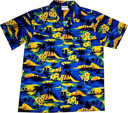 "Chemise Hawaienne Homme ""Summer Beach (dark blue)"" taille M – 6XL, bleu Bleu"