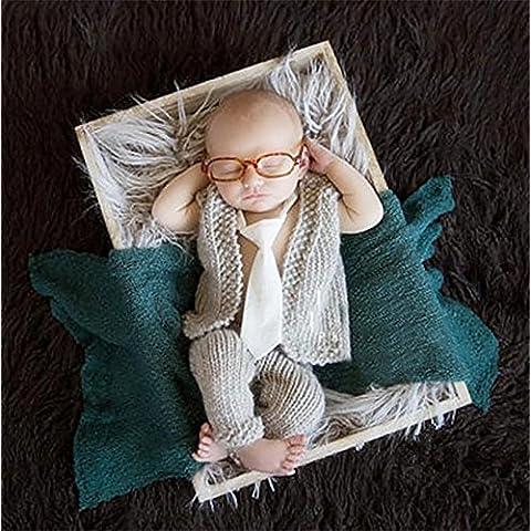 RUIRUI Fotografía Prop bebé muchacho encantador infantil ganchillo punto pantalones de traje Cap