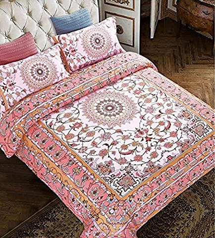 Bohemian Moroccan Duvet Cover Set, Elegant Floral Pattern Colorful Medallion