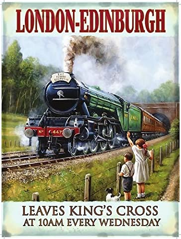 London - Edinburgh. The Flying Scotsman Train portrait. Coming out a tunnel by children in a field. Steam locomotion engine. Early 20th Century. King's Cross 10am. Medium Metal/Steel Wall