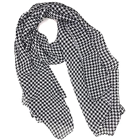 Tapp Collections Fashionable Houndstooth Soft Chiffon Scarf - Black White