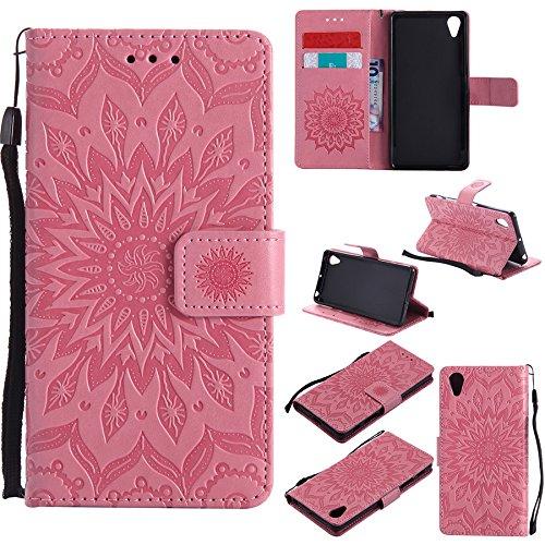 Nutbro Sony X Performance Wallet Tasche, Sony Xperia X Tasche Handy Zubehör Premium Leder Blume Blumenmuster schlanke Flip Wallet Case für Sony Xperia X Performance