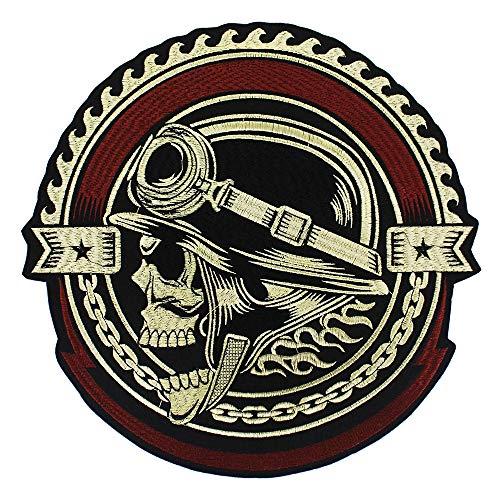 EMDOMO Stickerei Gear Skull Patches Motiv Aufbügler Aufkleber für Jacke, Rückseite, Punk, Bike, 1 Stück Jacke Patch-bike