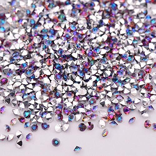 PENVEAT 1,2 mm Iris Mini Glitter Pixie Glasnagel Strass Micro Strass Kristallsteinen Nail Art Dekoration 1440 PC, Silber Blue Flame -