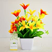 ASHIYANADECORS Artificial Flowers with Pot (Yellow, Orange)
