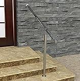Geländer Edelstahl Außen & Innen Komplett Set | Treppengeländer bodenmontage Bausatz | Wandhandlauf für Treppenhaus Edelstahl-Handlauf massiv & stabil V2a | Eingangsgeländer für Stufen Bayram (60 cm)