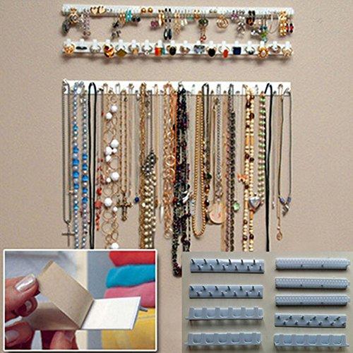 9-in-1 Selbstklebende Schmuckaufbewahrung, Schmuckständer, Halsketten, Haken zum Aufhängen von Ohrringen Halsketten Ringe
