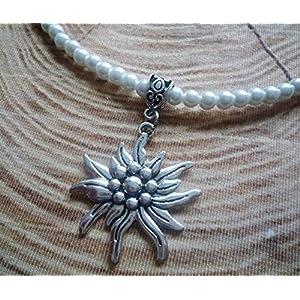 weiße Perlenkette / Dirndlkette, Edelweissanhänger in antik-silberfarben
