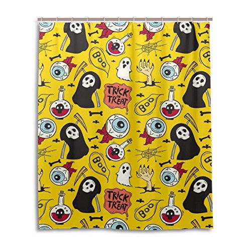 My Daily Trick or Treat Funny Halloween Cartoon gelb Vorhang für die Dusche 152,4x 182,9cm, schimmelresistent & Wasserdicht Polyester Dekoration Badezimmer Vorhang, Polyester, multi, 60x72 (Halloween Trick Or Treat Cartoon)
