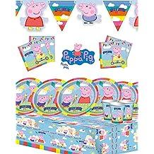 Peppa Pig - Kit de fiesta para cumpleaños infantil, con pancarta