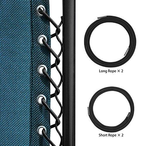 Keten Kit lacets élastiques avec embouts refermables, Pour Chaise Longue pliante et inclinable Transat de Jardin, Zero Gravity Chaise pliante inclinable Chaise