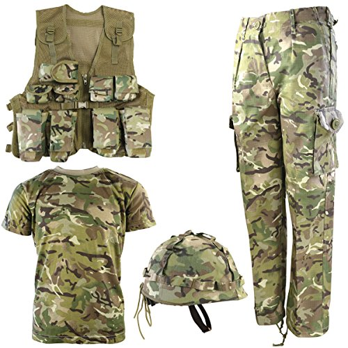 Kombat UK Armee-Set für Kinder, BTP, No1 12-13 Jahre British Terrain Pattern (Woodland Kids Camouflage T-shirt)