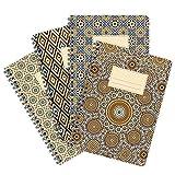 etmamu 522 4er-Pack Notizblöcke Muster Marokko A5, 60 Blatt Punktraster