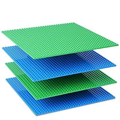 NextX 4 Stück Grundplatten Große Bauplatte Kompatibel mit Lego Gebäude Spielzeug,25cm* 25cm Verdickung Bausteine Platten set 32 * 32Punkte (Grün+Blau)
