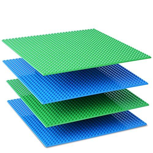 Preisvergleich Produktbild NextX 4 Stück Grundplatten Große Bauplatte Kompatibel mit Lego Gebäude Spielzeug,25cm* 25cm Verdickung Bausteine Platten set 32 * 32Punkte (Grün+Blau)