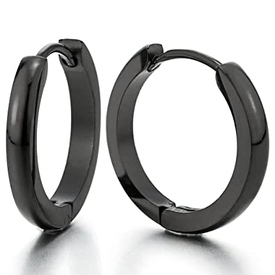 Boucle d'oreille homme acier noir