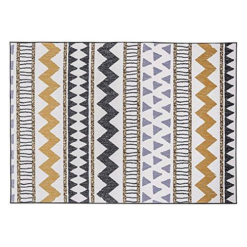 LiuJF Teppiche, nationale Art-Persönlichkeits-kreatives Wohnzimmer-Fuß-Auflage-Streifen-Retro- Sofa-Tee-Tabellen-Schlafzimmer-Bettdecke-rutschfeste einfach, Teppich-Länge 120-140CM zu säubern