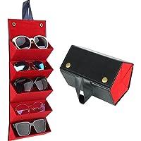 JGHGO 5-Slot Travel Sunglasses Organizer Collector, Leather Multiple Glasses Storage Case, Foldable Eyeglasses Storage…