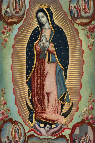 Posterlounge Lienzo 20 x 30 cm: Virgin of Guadalupe de Nicolas Enriquez/Bridgeman Images - Cuadro Terminado, Cuadro sobre Bastidor, lámina terminada sobre Lienzo auténtico, impresión en Lienzo