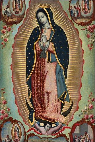 Posterlounge Cuadro de Madera 20 x 30 cm: Virgin of Guadalupe de Nicolas Enriquez/Bridgeman Images