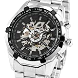 ESS Men's Black Bezel Skeleton Dial Stainless Steel Self-Wind Up Mechanical Automatic Watch WM257