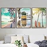 ZGZART Palmera de Playa árbol de Coco Tabla de Surf mar Pared Arte impresión Lienzo Pintura Cartel nórdico Cuadros de Pared p
