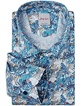 XXL Signum Langarmhemd floraler Alloverdruck bunt