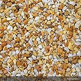 Steinteppich Marmorkies für 2qm | BEKATEQ BK-600EP Bodenbelag Bodenbeschichtung (25KG Marmorkies + 1,5KG Bindemittel, Gelb - Giallo Siena)
