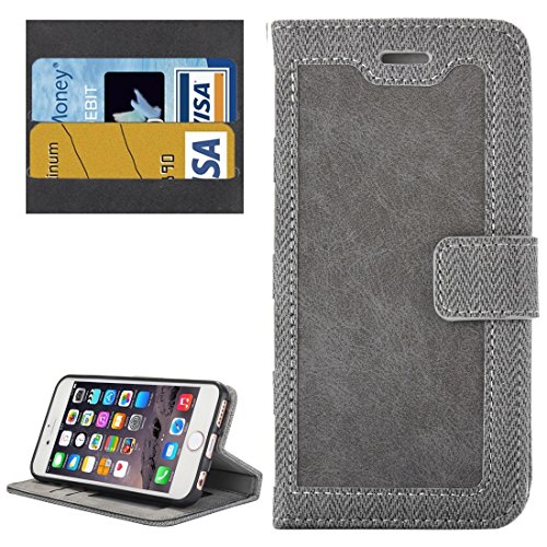 Phone case & Hülle Für iPhone 6 Plus / 6s Plus, Business Notebook Style Hit Farbe Horizontale Flip Leder Tasche mit Halter & Card Slots & Wallet & Photo Frame ( Color : Grey ) Grey