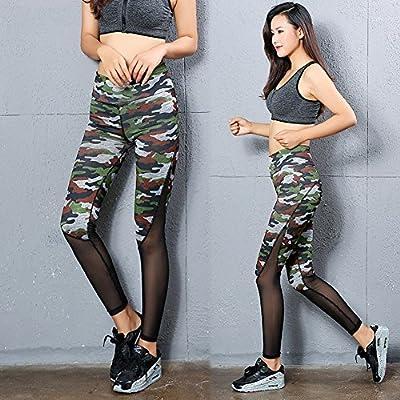 Morbuy Damen Leggings Sporthose, Sport Gym Yoga Workout Pants Basic Fitness Hohe Taille Jogginghose Trainingshose Skinny Hosen Hose Camouflage Stitching Perspektive schwarz