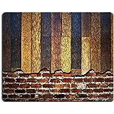 Liili alfombrilla de ratón alfombrilla de ratón de goma natural muro de ladrillos con en la parte superior de madera imagen ID 14257163