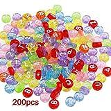 200 X Perle Rond Lettre Alphabet En Plastique Multicolore 7mm