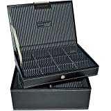 Mens Black Mini Stacker Watch and Cufflinks Box Set of 2 Trays as Shown Jewellery / watch Box